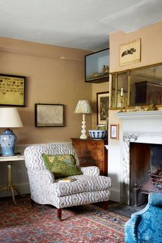 Hampshire Farmhouse Armchair - We take a look at the work of antique dealer, furniture designer and decorator Max Rollitt- quintessentially English interiors and the best interior designers on HOUSE Antique Living Rooms, Living Room Interior, Home Interior, Interior Design, Antique Interior, Luxury Interior, Interior Ideas, Cosy Cottage Living Room, Country Style Living Room