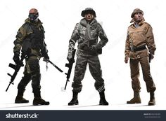 Military, war, conflict, soldiers - Three special forces men holding a machine gun on a white background