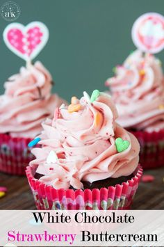White Chocolate Strawberry Buttercream frosting recipe - A yummy buttercream frosting recipe This white chocolate frosting uses real strawberries and is the perfect topping for chocolate chai cupcakes (or any cake) The Bewitchin' Kitchen