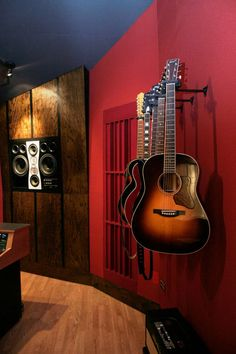 Spyglass Studio Wall Detail - Modern - Home Theater - austin - by Watermark & Company Home Music Rooms, Home Studio Music, Media Room Design, Home Theater Design, Red Rooms, Red Walls, Contemporary, Modern, Family Room