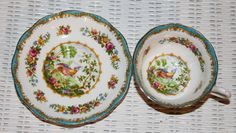 Vintage Royal Albert Fluted - Avon Shape Teacup and Saucer Pattern: Chelsea Bird and Florals by TouchofClassic on Etsy