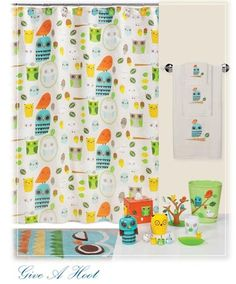 Shower curtain and more...   Give A Hoot Shower Curtain, Towels & Rugs | Kids Bath | PaulsHomeFashions.com