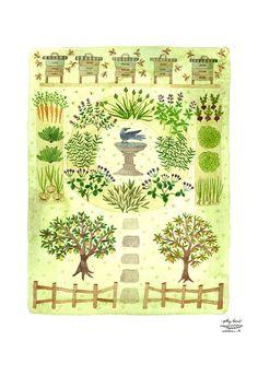 LARGE Bee Garden Print, watercolor print, giclee art print, herb garden illustration, watercolour, beehives