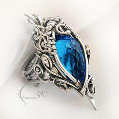 MANHTRILH  - silver and blue quartz ( ring ) by LUNARIEEN.deviantart.com on @deviantART