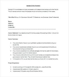 Fresher Resume Format Sample For Freshers Best Software Engineers Free Download