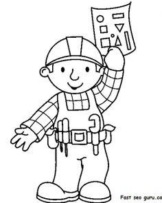 Printable cartoon bob the builder coloring pages - Printable Coloring Pages For Kids