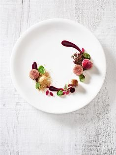 Quail Roulade with Beets and Smoked Apple