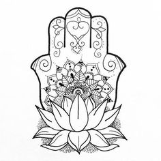 Fine Line Hamsa Tattoo Design - Cool hamsa with lotus and mandala. Hamsa Tattoo Design, Hamsa Design, Tattoo Designs, Mandalas Painting, Mandalas Drawing, Zentangles, Mandala Coloring, Colouring Pages, Hamsa Drawing