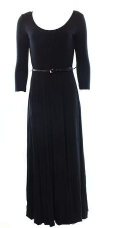 Calvin Klein NEW Deep Black Women's Size 4 Maxi Belted Scoop-Neck Dress $99