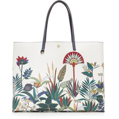Tory Burch Kerrington Square Tote (19,995 INR) ❤ liked on Polyvore featuring bags, handbags, tote bags, vegan purses, vegan tote bags, floral tote bag, vegan handbags and white purse