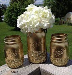 painted and glittered mason jars