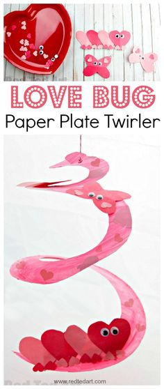 Love Bug Paper Plate Twirler. Oh my, this is such a super duper CUTE Valentine's Day Craft for Preschoolers. We love exploring shapes and creating our own LOVE BUGS.. and we love a Paper Plate Whirligig craft..