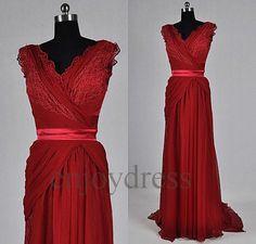 Custom Red Long Lace Chiffon Wedding Dress 2014 Fashion Elegant Bridal Gowns Formal Wedding Party Dress Long Evening Gowns Party Dress