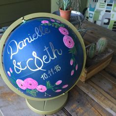 Need a guest book for your 2016 wedding? Slots are filling up fast! Order a Custom Hand Painted Globe by glimfeathers on Etsy