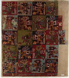 Mantle Fragment  Date:     9th–10th century Geography:     Peru Culture:     Wari Medium:     Camelid hair, cotton