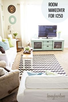 I love this simple Room Makeover for $250, it looks so much better! aqua and green decor