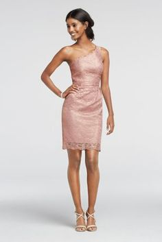 3c9c042fae Our floral metallic lace is as lovely as ever on this short bridesmaid dress  with an