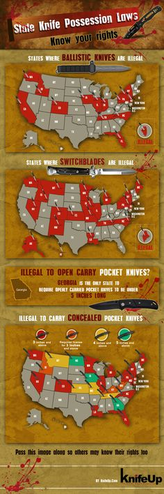 State Knife Possession Laws | Know Your Rights #SurvivalLife www.survivallife.com