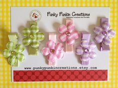 Easter Pastel Gingham Flower Girls Hair Clip Set by PunkyPunkinCreations, $5.50