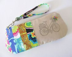 Embroidered Flowers / Ink Stamped Bicycle by SweetPeaTotes on Etsy, $27.00