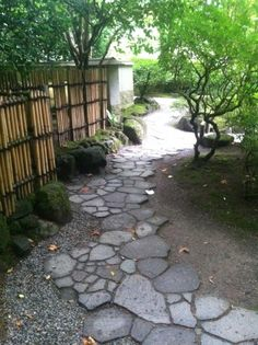 The Japanese principle of wabi sabi represents a world view that accepts and embraces transience and imperfection.  This checkered path mimic imperfect natural forms and patterns.