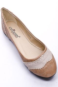 BEIGE FAUX LEATHER OXFORD INSPIRED BALLERINA FLATS