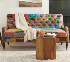 Kantha Loveseat. Eclectic patchwork using vivid reclaimed Indian sari fabric. Cute timber side table also.