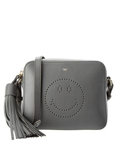 ANYA HINDMARCH Anya Hindmarch Smiley Leather Crossbody'. #anyahindmarch #bags #shoulder bags #leather #crossbody #lining #