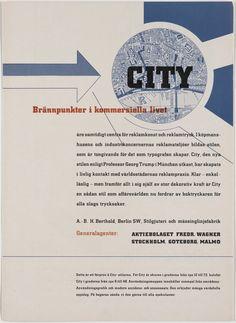 "Georg Trump. City: Brännpunkter I Kommersiella Livet. c. 1931. Letterpress. 11 1/2 x 8 1/4"" (29.2 x 21 cm). H. Berthold AG, Berlin. Jan Tschichold Collection, Gift of Philip Johnson. 1011.1999. Architecture and Design"
