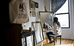 I love everything about this from the mirror on the easel to the Paris Review tote