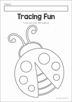 Spring Preschool No Prep Worksheets & Activities. A page from the unit: fine motor tracing (use glue to trace and then sprinkle with glitter)