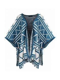 Plus Size Individual Print Style Long Sleeve Knit Cardigan