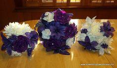 Tear shape brides bouquet in Regency purple and Ivory at www.silkweddingflowersforless.com