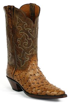 Full Quill Ostrich Leather Boots Style 237 Custom-Made by Black Jack Boots