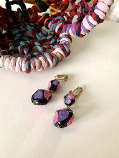 1960s Mod Dangle Earrings // Hot Pink Purple Black Clip Ons