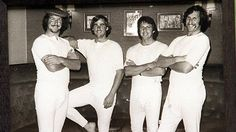 OLD SCHOOL: Australia's Ashes 1977 tour of England, Gary Cosier, David Hookes, Jeff Thomson and Max Walker wearing long johns. Source: The Courier-Mail