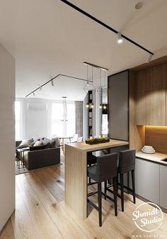 Kitchen Room Design, Studio Kitchen, Home Room Design, Modern Kitchen Design, Interior Design Kitchen, House Design, Design Scandinavian, Small Apartment Interior, Luxury Home Decor