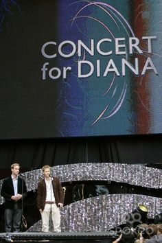 Prince William and Prince Harry give a speech on stage Concert for Diana at Wembley Stadium