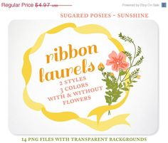 Posies and Ribbon Laurels Digital Clipart for Scrapbooking, Invitations, & Branding  - Instant Download https://www.etsy.com/listing/155982416