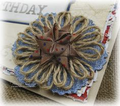 Patriotic Birthday Card by Tracey Sabella for Really Reasonable Ribbon ~ Close-Up Denim, Twine, and Moravian Star Flower