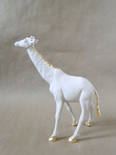 DIY plastic animal plastered and gilded (gold leaf) by Fabric Paper Glue