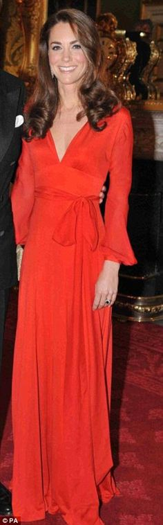 KM the style queen: from haute couture to the High St fashion (Red silk maxi dress by Beulah, Wilbur & Gussie Edith clutch - 100 women in Hedge Funds gala, October )