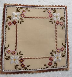 Pretty brown hues hardanger, love the edging. Hardanger Embroidery, Paper Embroidery, Learn Embroidery, Embroidery Stitches, Embroidery Patterns, Cross Stitch Patterns, Embroidery Dress, Crochet Doily Patterns, Crochet Squares