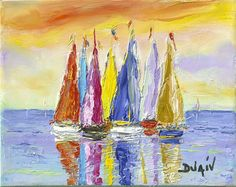 Browse Artwork Seaside oil painting on canvas by Duaiv – Park West Gallery Photo To Oil Painting, Acrylic Painting Canvas, Abstract Canvas, Knife Painting, Painting Tips, Sailboat Art, Sailboat Painting, West Art, Painting Still Life