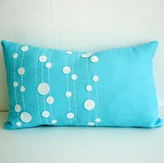 Blue Linen Pillow Cover  12x20 by sukanart on Etsy