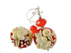 Lampwork Earrings Glass Bead Earrings Red Floral by JadjusJewelry, $33.00