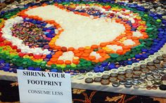 Possible earth day project, makes a footprint out of bottle caps.