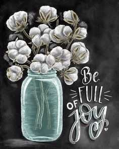 ♥ Be Full Of Joy ♥ ♥ L I S T I N G ♥ Each image is originally hand drawn with chalk and converted digitally. Chalkboard prints maintain the authenticity and dust of the original drawing smudge free. All prints are printed on Deep Matte Fujicolor Crystal Archive Professional Paper. ♥ F R A M I N G ♥ Frame in front of the glass of your frame for a more realistic chalkboard appearance, or frame behind the glass in areas where moisture is possible (bathrooms, sinks, etc...). White and/or b...
