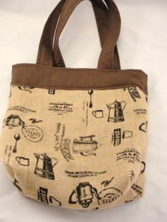 Burlap tote bag coffee theme brown accents