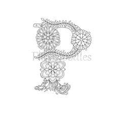 Malseite zum Ausdrucken  Buchstabe P  floral von Fleurdoodles